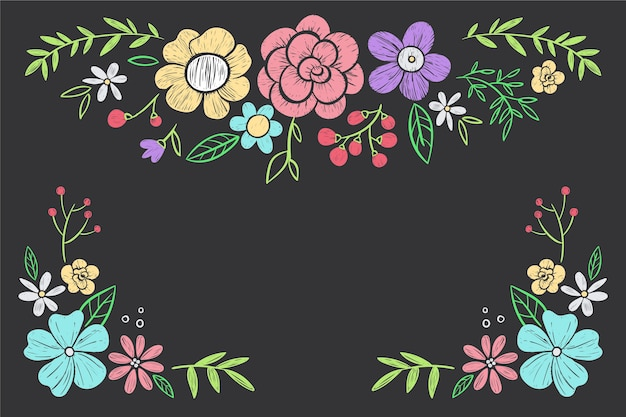 Hand drawn flowers on blackboard wallpaper
