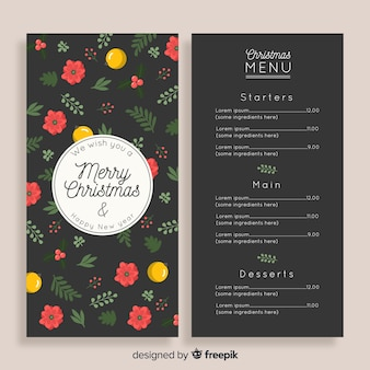 Hand drawn flowers christmas menu template
