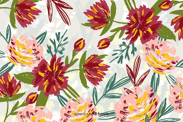 Hand-drawn flowers collection background