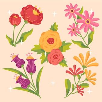 손으로 그린 된 꽃 컬렉션