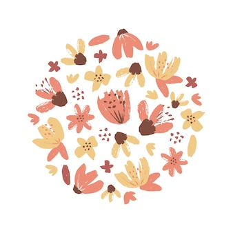 Hand drawn flowers design element floral blossom background vector banner template