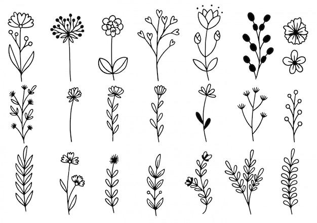 手描きの花落書き