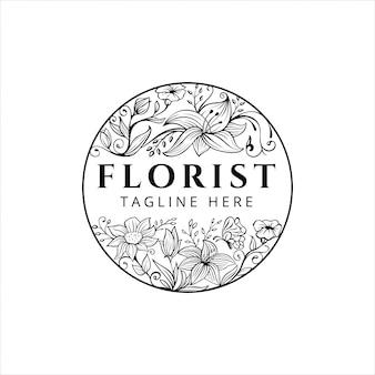 手描きの花の花屋のロゴデザイン