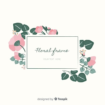 Hand drawn flowers frame background