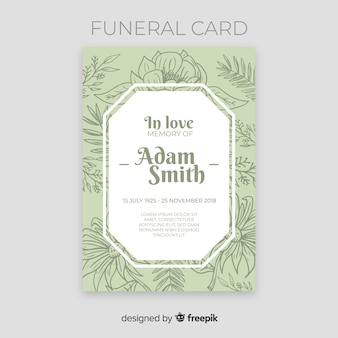 Hand drawn flowers funeral card template