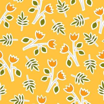 Ручной обращается цветы в простом стиле каракули