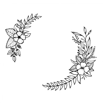 Hand drawn flowers and leaves line art