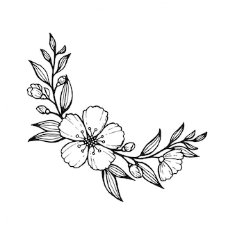 Hand drawn flowers and leaves line art.