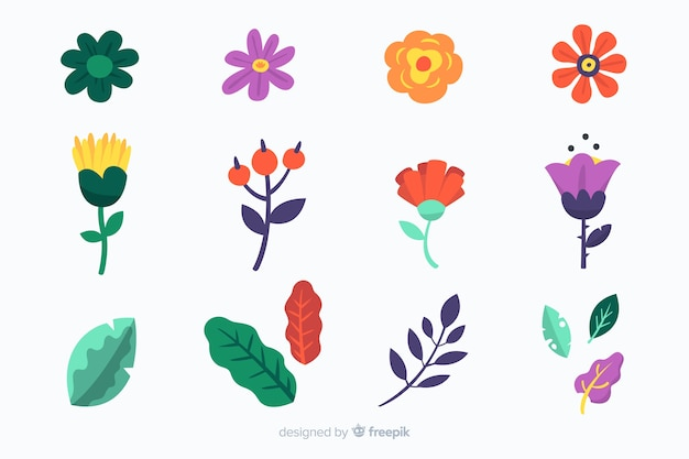 Hand drawn flowers and leaves pack