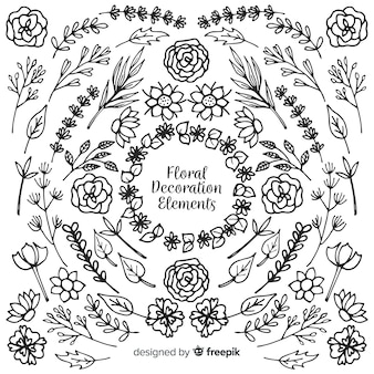 Hand drawn flowers and leaves set