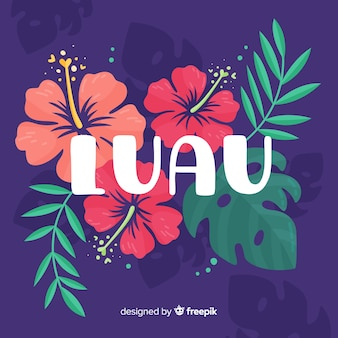 Hand drawn flowers luau background