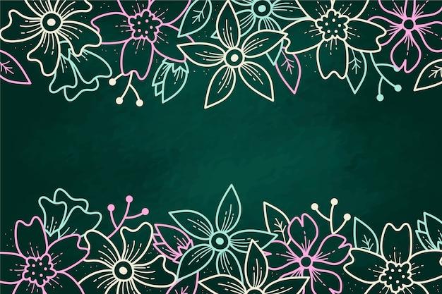 Рисованной цветы на фоне доски