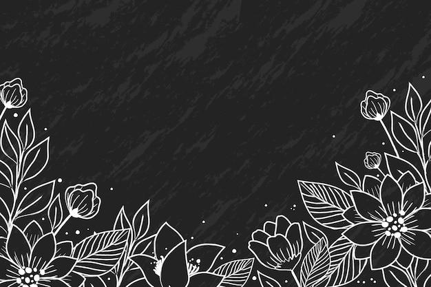 黒板背景に手描きの花