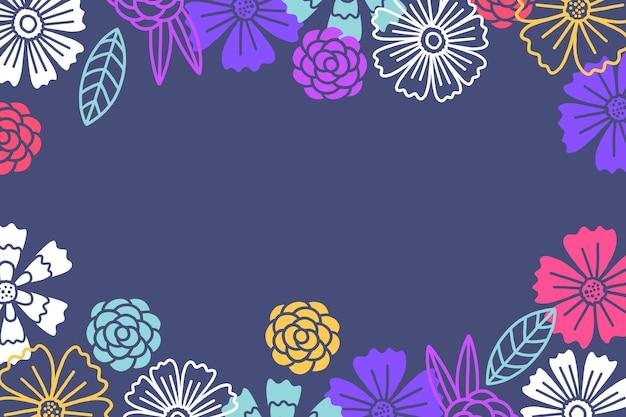 손으로 그린 꽃 칠판 배경