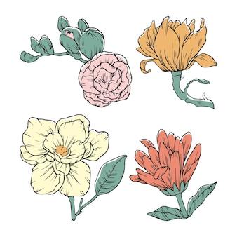 手描きの花パック