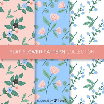 Hand drawn flowers pattern set