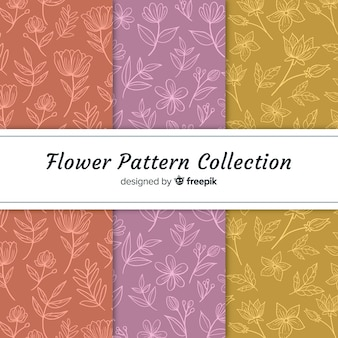 Hand drawn flowers patterns