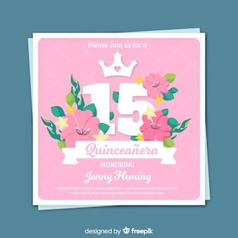 Hand drawn flowers quinceanera party card