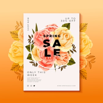 Hand drawn flowers sale flyer template