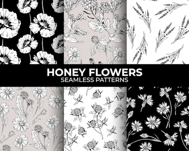Hand drawn flowers seamless patterns collection
