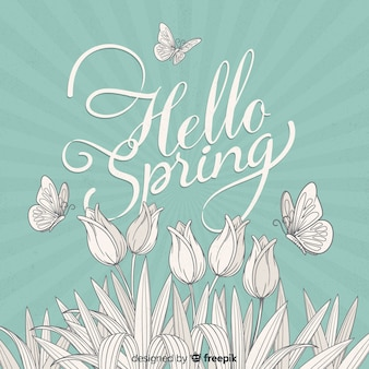 Hand drawn flowers spring background