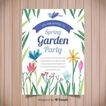 Hand drawn flowers spring party poster