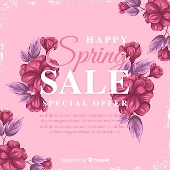 Hand drawn flowers spring sale background