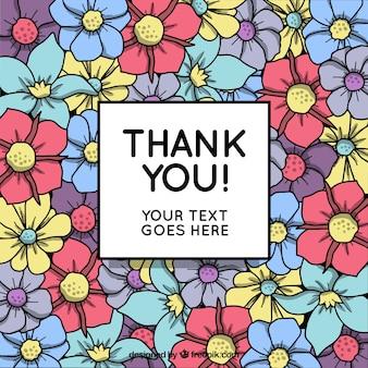 손으로 그린 꽃 감사 배경