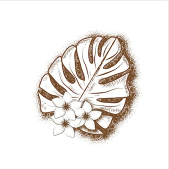 Hand drawn flowers and tropical leaf on a white background