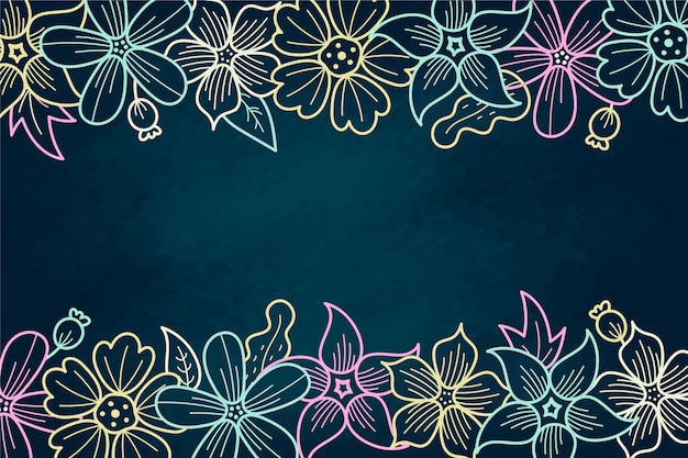 Hand drawn flowers with copy space background