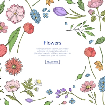 Hand drawn flowers  with copyspace illustration