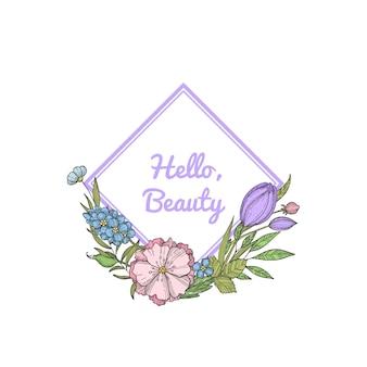 Hand drawn flowers wreath