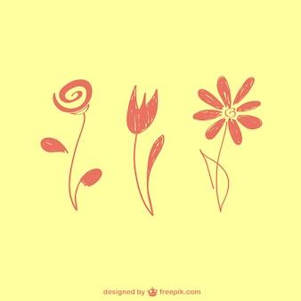 손으로 그린 꽃 무료 벡터