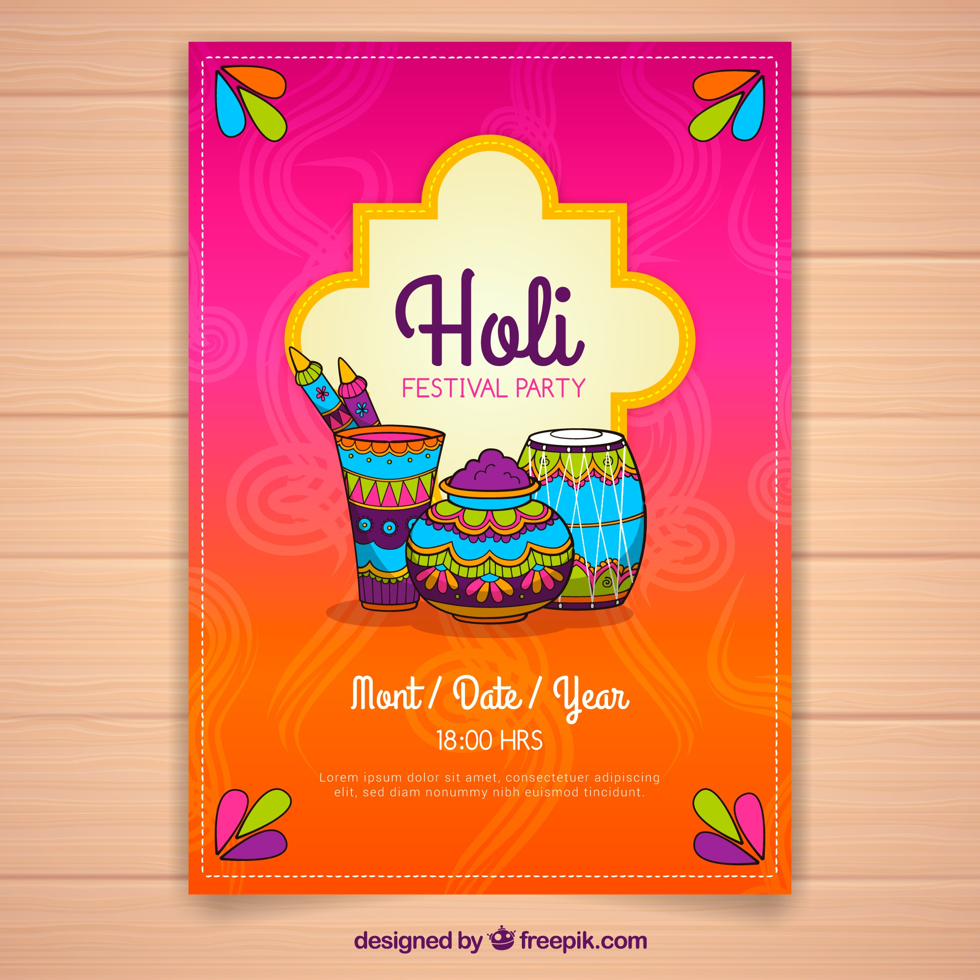 Hand drawn flyer for holi festival