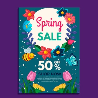 Hand drawn flyer spring sale template