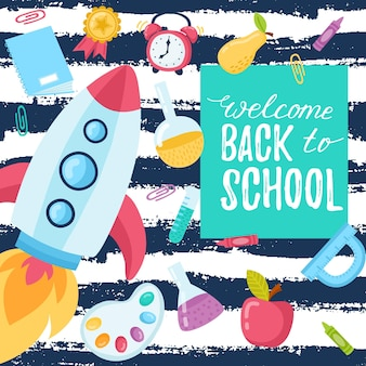 Hand drawn flyers template for school products. doodle back to school background. printed materials for brochures, folder, flyers, banners, leaflet.