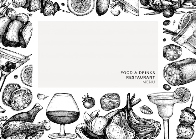 手描きの食べ物や飲み物のフレーム。肉料理とアルコールカクテルのイラスト。チキン、サラミ、ポーク、ソーセージ、ステーキスケッチのレストラン肉料理メニューテンプレート。