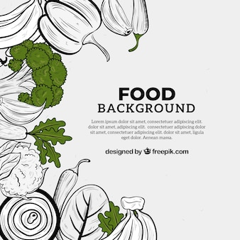 Hand drawn food background with space for text