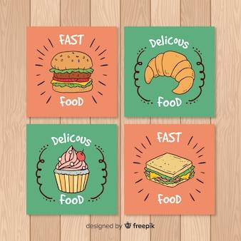 손으로 그린 음식 카드 컬렉션