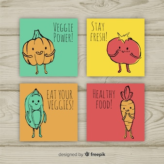 Hand drawn food card collection