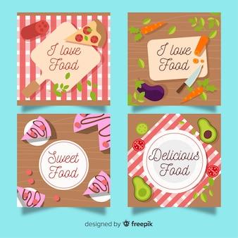 Pacchetto di carte cibo disegnato a mano