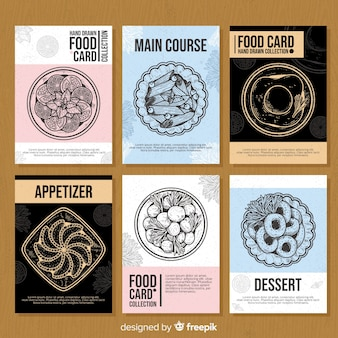 Hand drawn food card set