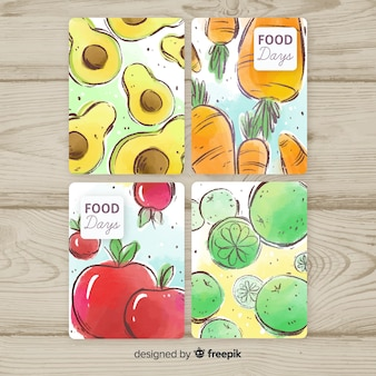 Hand drawn food cards pack