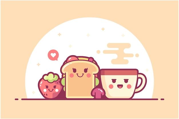 手描きの食べ物のキャラクターのイラストの背景