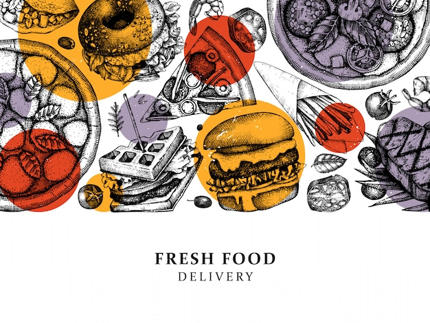 手描きの食品配達イラスト。レストラン、カフェ、ファーストフードのトラックメニューのビンテージ背景。刻まれた要素-ハンバーガー、ステーキ、フライドポテト、ピザのスケッチ。