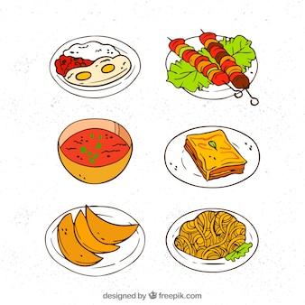 手描きの料理の料理のコレクション