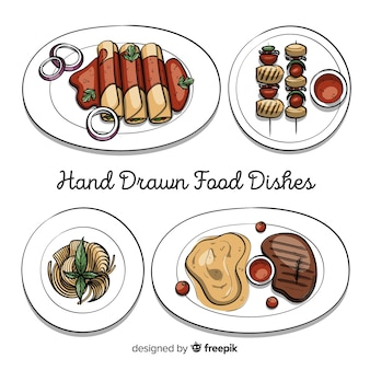 Hand drawn food dish collection