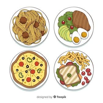 Hand drawn food dish collection