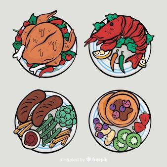 손으로 그린 음식 요리 모음