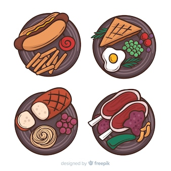 Hand drawn food dishes collection